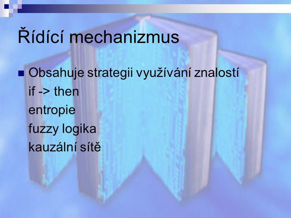 Řídící mechanizmus Obsahuje strategii využívání znalostí if -> then entropie fuzzy logika kauzální sítě