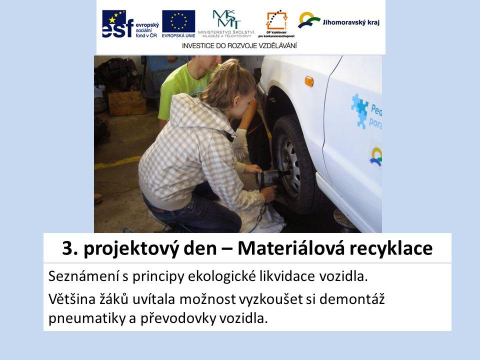 3. projektový den – Materiálová recyklace Seznámení s principy ekologické likvidace vozidla.