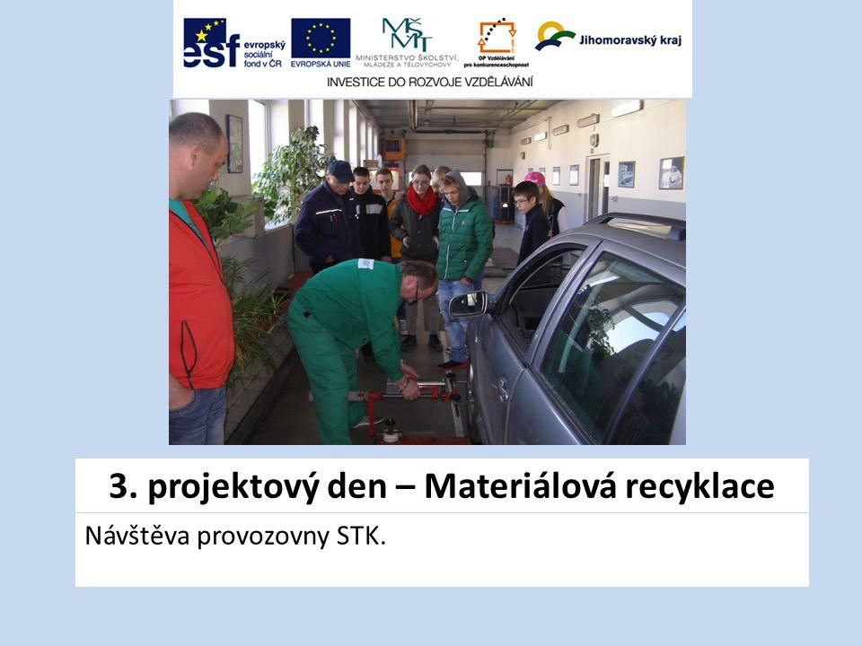 3. projektový den – Materiálová recyklace Návštěva provozovny STK.