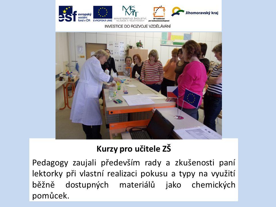 Kurzy pro učitele ZŠ Pedagogy zaujali především rady a zkušenosti paní lektorky při vlastní realizaci pokusu a typy na využití běžně dostupných materiálů jako chemických pomůcek.