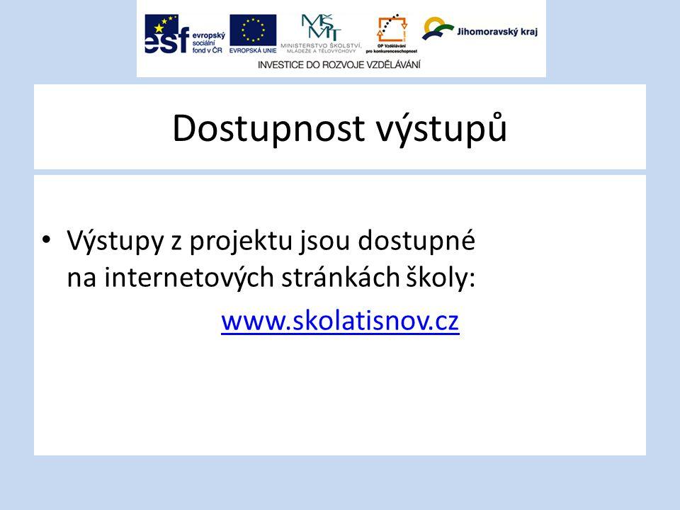 Dostupnost výstupů Výstupy z projektu jsou dostupné na internetových stránkách školy: www.skolatisnov.cz