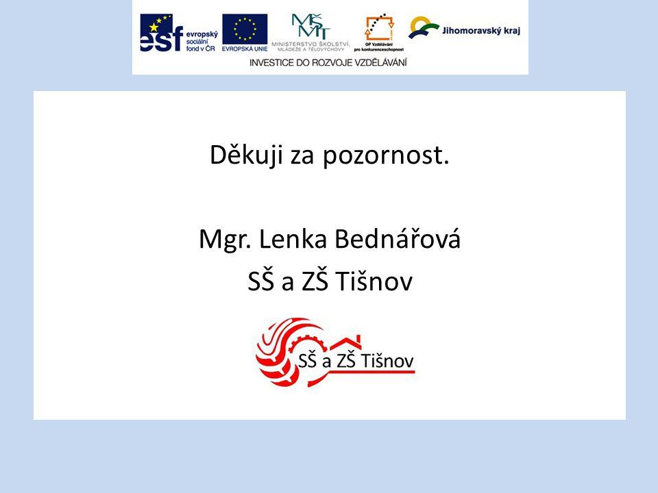 Děkuji za pozornost. Mgr. Lenka Bednářová SŠ a ZŠ Tišnov