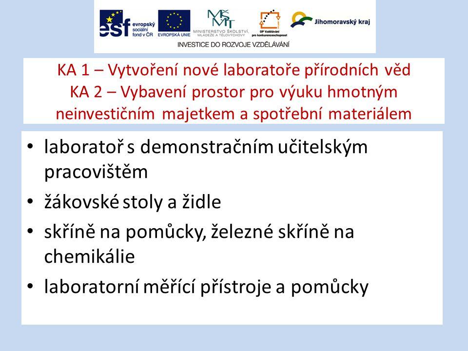 KA 1 – Vytvoření nové laboratoře přírodních věd KA 2 – Vybavení prostor pro výuku hmotným neinvestičním majetkem a spotřební materiálem laboratoř s demonstračním učitelským pracovištěm žákovské stoly a židle skříně na pomůcky, železné skříně na chemikálie laboratorní měřící přístroje a pomůcky