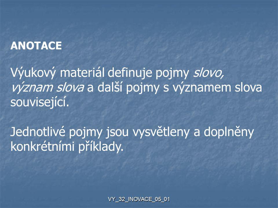 VY_32_INOVACE_05_01 ANOTACE Výukový materiál definuje pojmy slovo, význam slova a další pojmy s významem slova související.