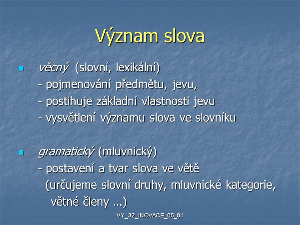 VY_32_INOVACE_05_01 Význam slova věcný (slovní, lexikální) věcný (slovní, lexikální) - pojmenování předmětu, jevu, - postihuje základní vlastnosti jevu - vysvětlení významu slova ve slovníku gramatický (mluvnický) gramatický (mluvnický) - postavení a tvar slova ve větě (určujeme slovní druhy, mluvnické kategorie, (určujeme slovní druhy, mluvnické kategorie, větné členy …) větné členy …)