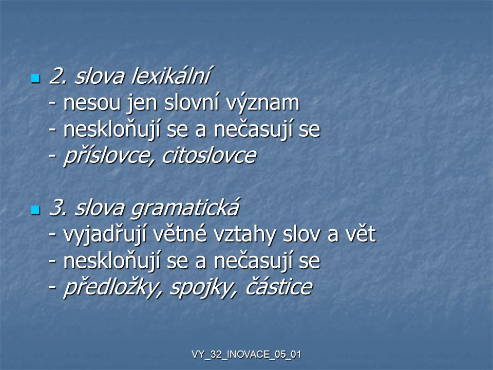 VY_32_INOVACE_05_01 Další možné druhy významu slov slovotvorný slovotvorný - význam jednotlivých slov se podílí na vytvoření nového slova na vytvoření nového slova (zvěrolékař = člověk, který léčí zvířata) (zvěrolékař = člověk, který léčí zvířata) symbolický symbolický (slon = neohrabanost, pírko = lehkost)