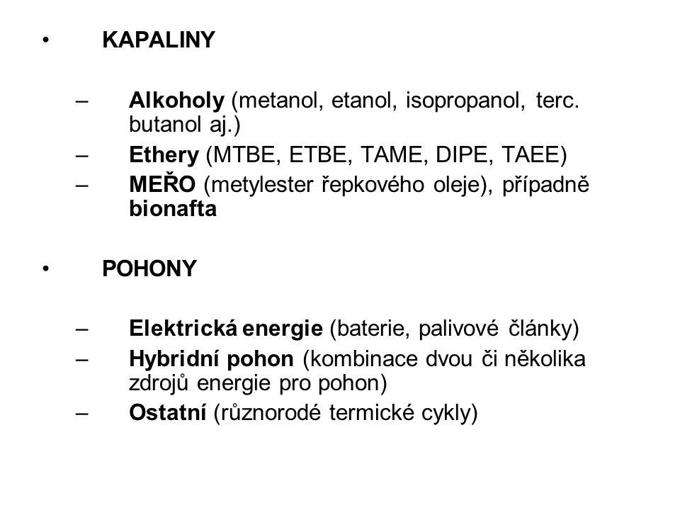 KAPALINY –Alkoholy (metanol, etanol, isopropanol, terc. butanol aj.) –Ethery (MTBE, ETBE, TAME, DIPE, TAEE) –MEŘO (metylester řepkového oleje), případ