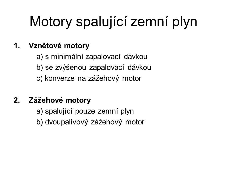 Motory spalující zemní plyn 1.Vznětové motory a) s minimální zapalovací dávkou b) se zvýšenou zapalovací dávkou c) konverze na zážehový motor 2. Zážeh