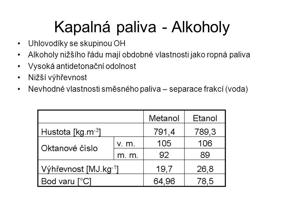 Kapalná paliva - Alkoholy Uhlovodíky se skupinou OH Alkoholy nižšího řádu mají obdobné vlastnosti jako ropná paliva Vysoká antidetonační odolnost Nižš