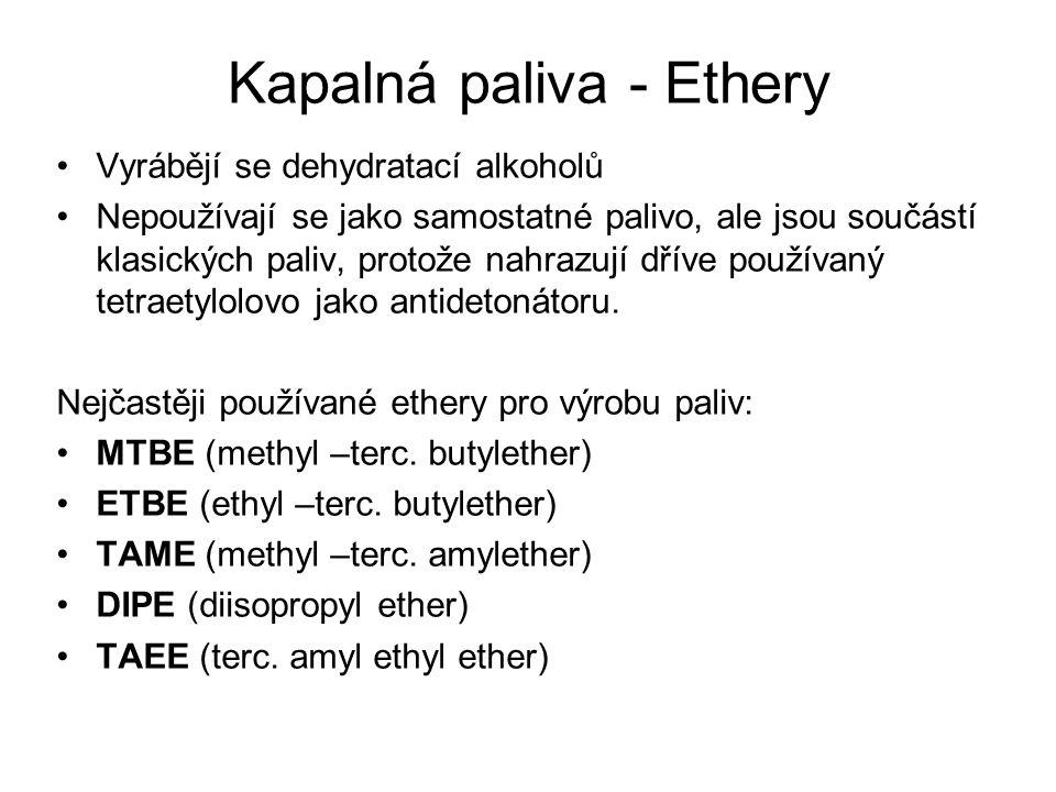 Kapalná paliva - Ethery Vyrábějí se dehydratací alkoholů Nepoužívají se jako samostatné palivo, ale jsou součástí klasických paliv, protože nahrazují