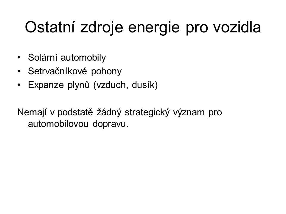 Ostatní zdroje energie pro vozidla Solární automobily Setrvačníkové pohony Expanze plynů (vzduch, dusík) Nemají v podstatě žádný strategický význam pr