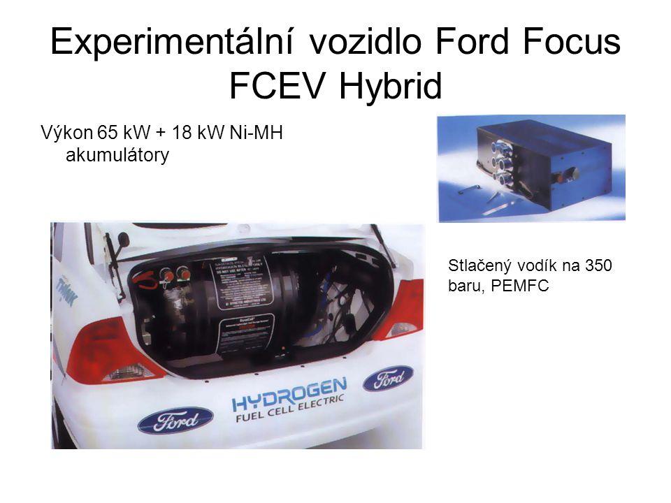 Experimentální vozidlo Ford Focus FCEV Hybrid Výkon 65 kW + 18 kW Ni-MH akumulátory Stlačený vodík na 350 baru, PEMFC