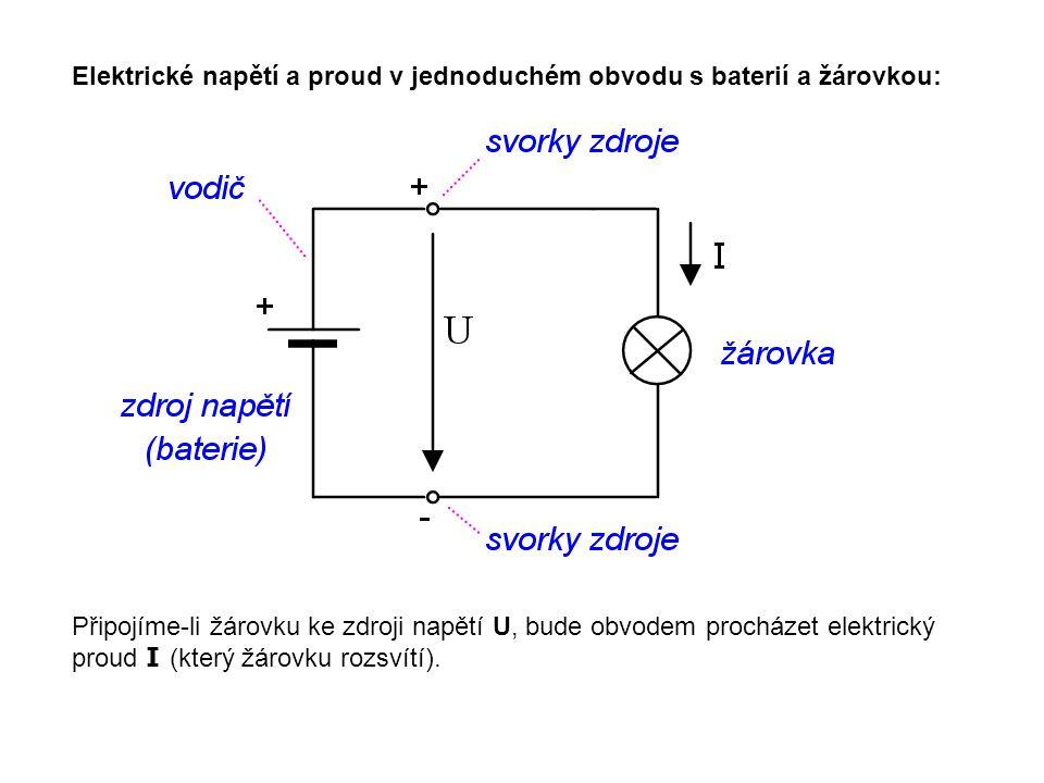 Elektrické napětí a proud v jednoduchém obvodu s baterií a žárovkou: Připojíme-li žárovku ke zdroji napětí U, bude obvodem procházet elektrický proud I (který žárovku rozsvítí).