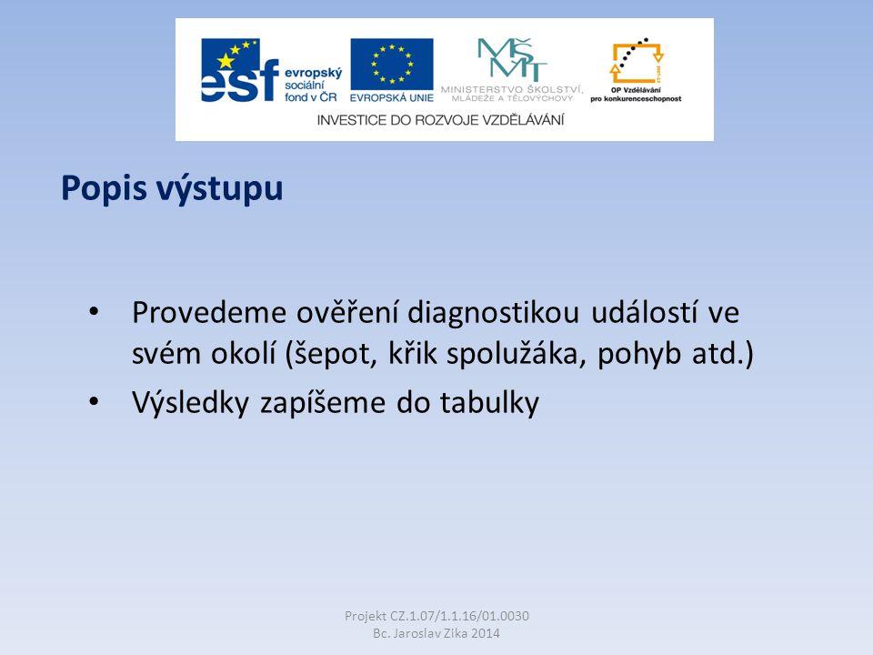 Provedeme ověření diagnostikou událostí ve svém okolí (šepot, křik spolužáka, pohyb atd.) Výsledky zapíšeme do tabulky Projekt CZ.1.07/1.1.16/01.0030 Bc.