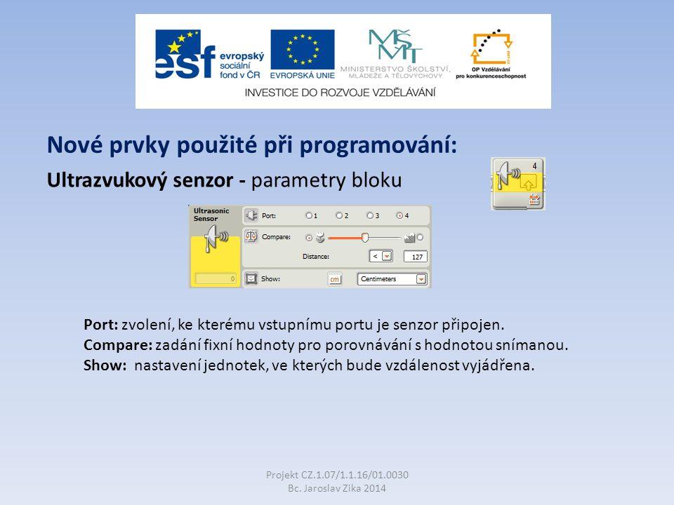 Ultrazvukový senzor - parametry bloku Projekt CZ.1.07/1.1.16/01.0030 Bc.