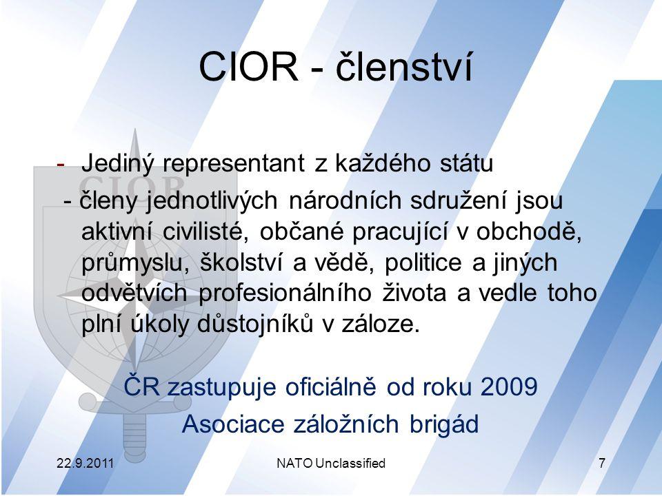 CIOR - členství Tito lidé mohou přispívat k lepšímu chápání bezpečnosti a obranné problematiky mezi širokou veřejností a rovněž poskytnout svoje občanské schopnosti a zkušenosti pro plnění úkolů záložních sil NATO 22.9.2011NATO Unclassified8