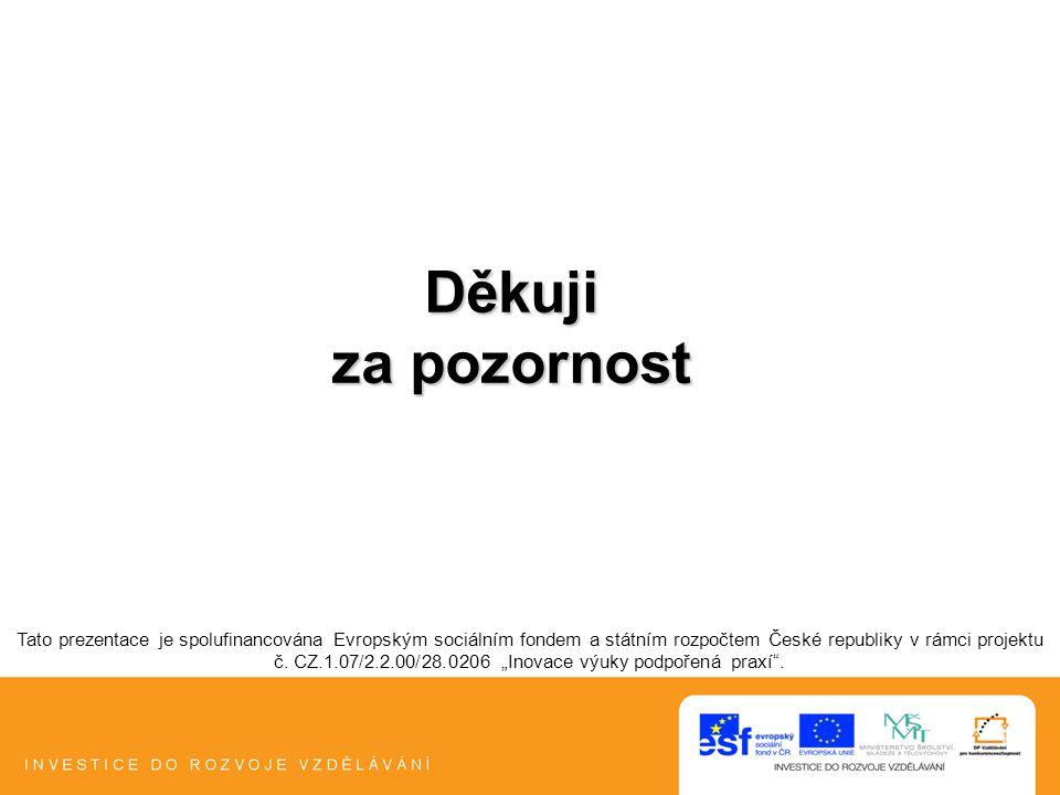 Děkuji za pozornost Tato prezentace je spolufinancována Evropským sociálním fondem a státním rozpočtem České republiky v rámci projektu č. CZ.1.07/2.2