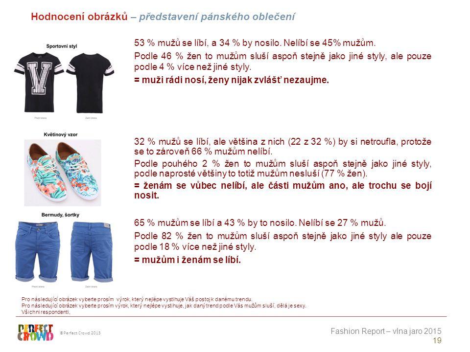 ©Perfect Crowd 2013 Fashion Report – vlna jaro 2015 19 Hodnocení obrázků – představení pánského oblečení Pro následující obrázek vyberte prosím výrok, který nejlépe vystihuje Váš postoj k danému trendu.