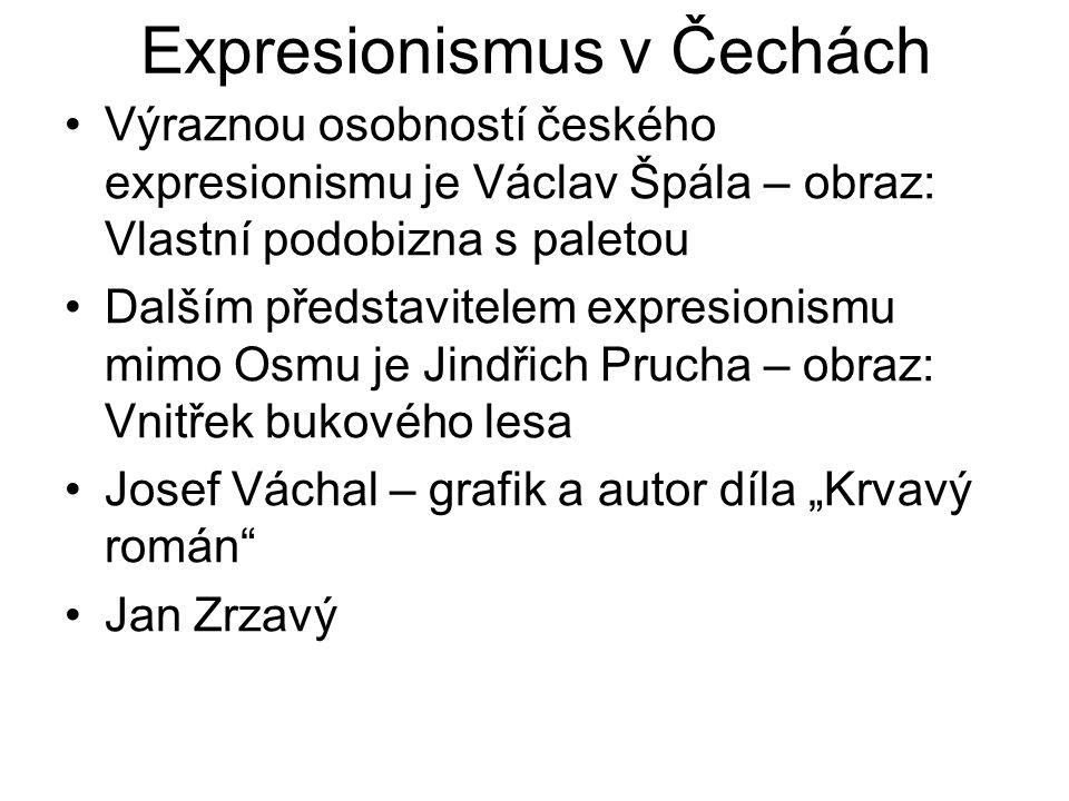Expresionismus v Čechách Výraznou osobností českého expresionismu je Václav Špála – obraz: Vlastní podobizna s paletou Dalším představitelem expresion