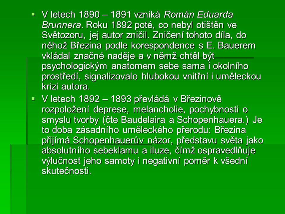  V letech 1890 – 1891 vzniká Román Eduarda Brunnera. Roku 1892 poté, co nebyl otištěn ve Světozoru, jej autor zničil. Zničení tohoto díla, do něhož B