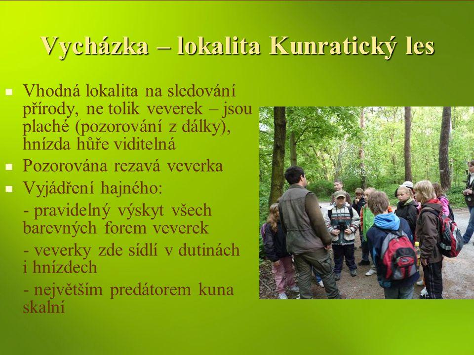 Vycházka – lokalita Kunratický les Vhodná lokalita na sledování přírody, ne tolik veverek – jsou plaché (pozorování z dálky), hnízda hůře viditelná Po