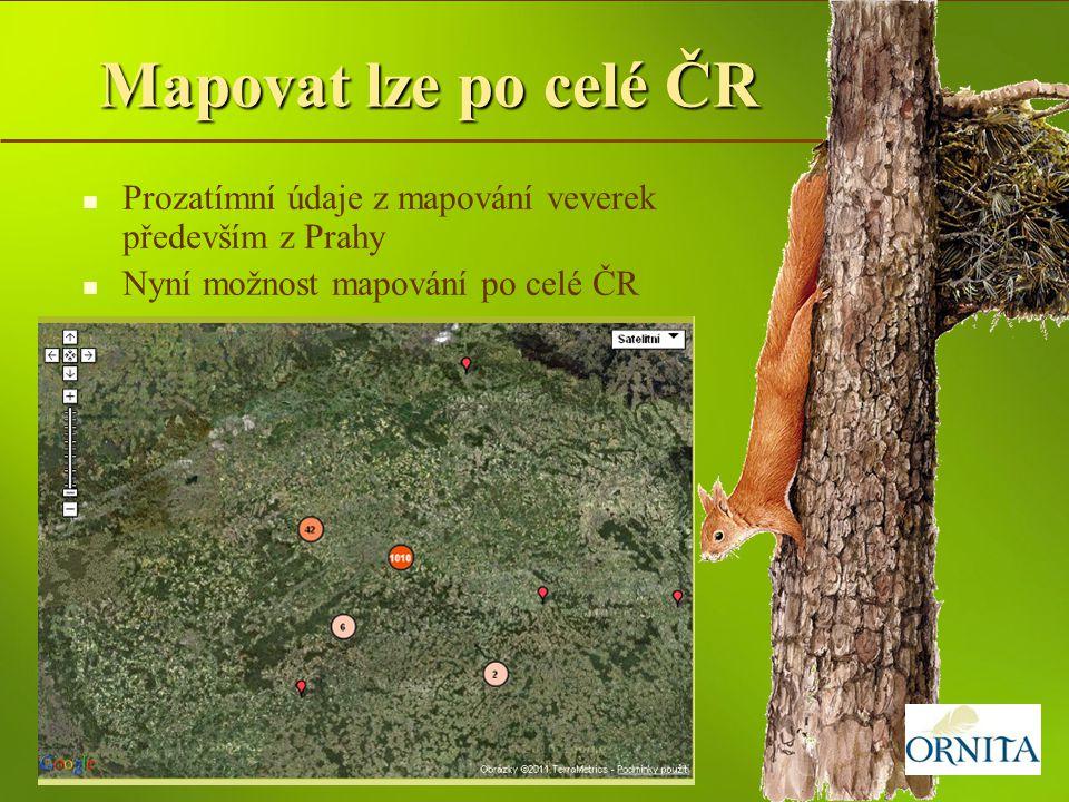Mapovat lze po celé ČR Prozatímní údaje z mapování veverek především z Prahy Nyní možnost mapování po celé ČR