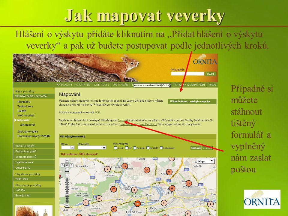 """Jak mapovat veverky Hlášení o výskytu přidáte kliknutím na """"Přidat hlášení o výskytu veverky"""" a pak už budete postupovat podle jednotlivých kroků. Pří"""