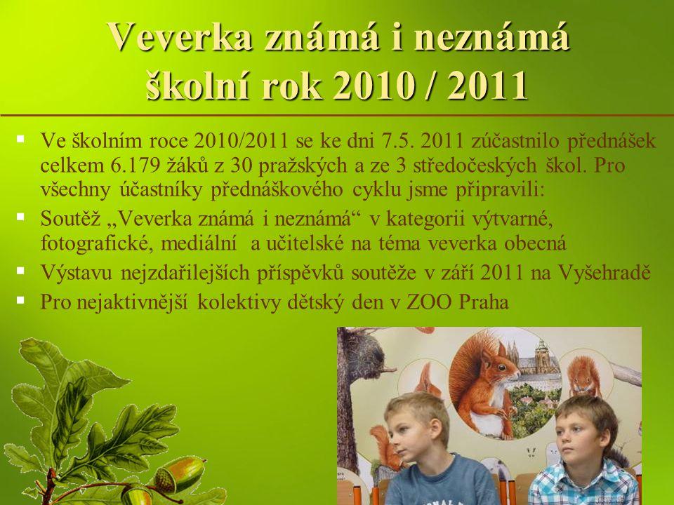 Veverka známá i neznámá školní rok 2010 / 2011   Ve školním roce 2010/2011 se ke dni 7.5. 2011 zúčastnilo přednášek celkem 6.179 žáků z 30 pražských