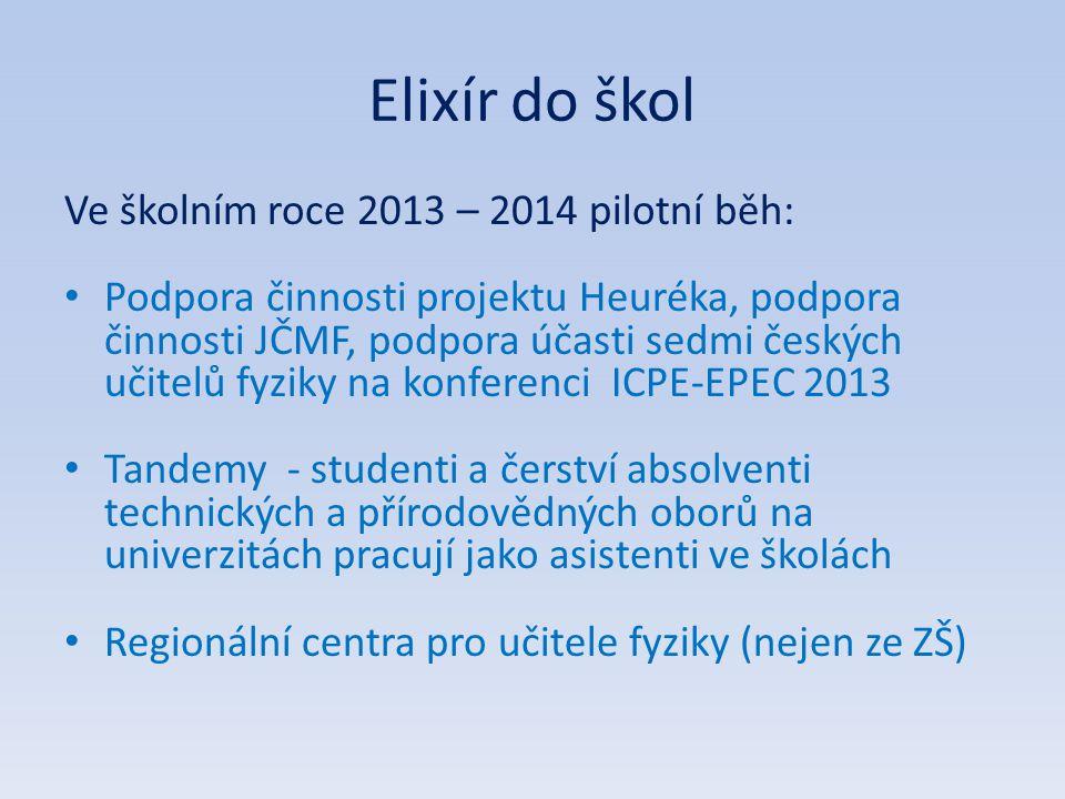 Elixír do škol Ve školním roce 2013 – 2014 pilotní běh: Podpora činnosti projektu Heuréka, podpora činnosti JČMF, podpora účasti sedmi českých učitelů