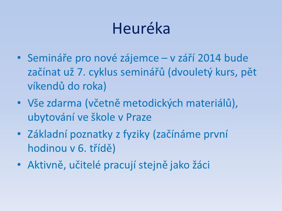 Heuréka Semináře pro nové zájemce – v září 2014 bude začínat už 7. cyklus seminářů (dvouletý kurs, pět víkendů do roka) Vše zdarma (včetně metodických