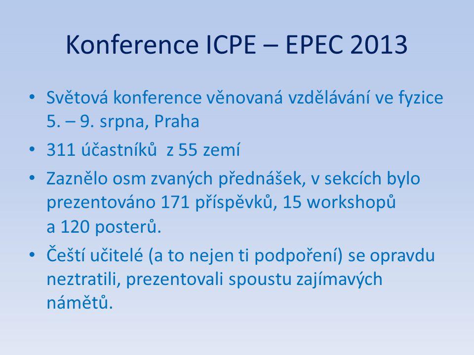 Konference ICPE – EPEC 2013 Světová konference věnovaná vzdělávání ve fyzice 5. – 9. srpna, Praha 311 účastníků z 55 zemí Zaznělo osm zvaných přednáše