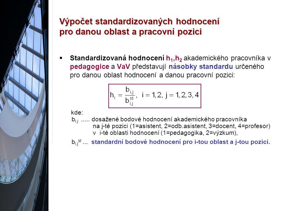 Výpočet standardizovaných hodnocení pro danou oblast a pracovní pozici  Standardizovaná hodnocení h 1,h 2 akademického pracovníka v pedagogice a VaV představují násobky standardu určeného pro danou oblast hodnocení a danou pracovní pozici: kde: b i,j.....