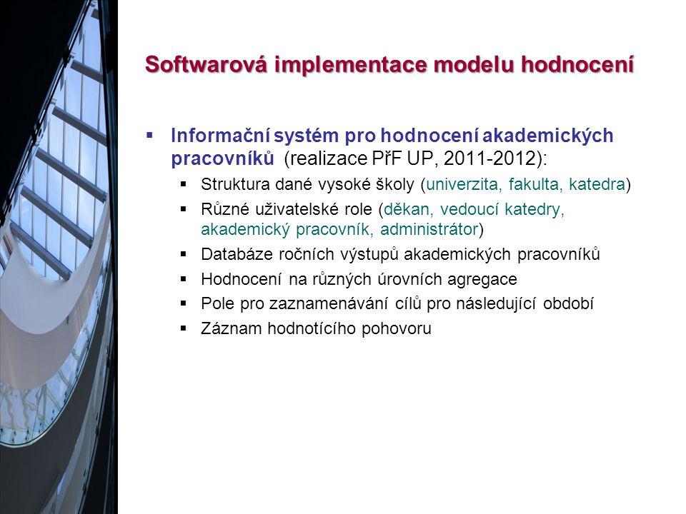 Softwarová implementace modelu hodnocení  Informační systém pro hodnocení akademických pracovníků (realizace PřF UP, 2011-2012):  Struktura dané vysoké školy (univerzita, fakulta, katedra)  Různé uživatelské role (děkan, vedoucí katedry, akademický pracovník, administrátor)  Databáze ročních výstupů akademických pracovníků  Hodnocení na různých úrovních agregace  Pole pro zaznamenávání cílů pro následující období  Záznam hodnotícího pohovoru