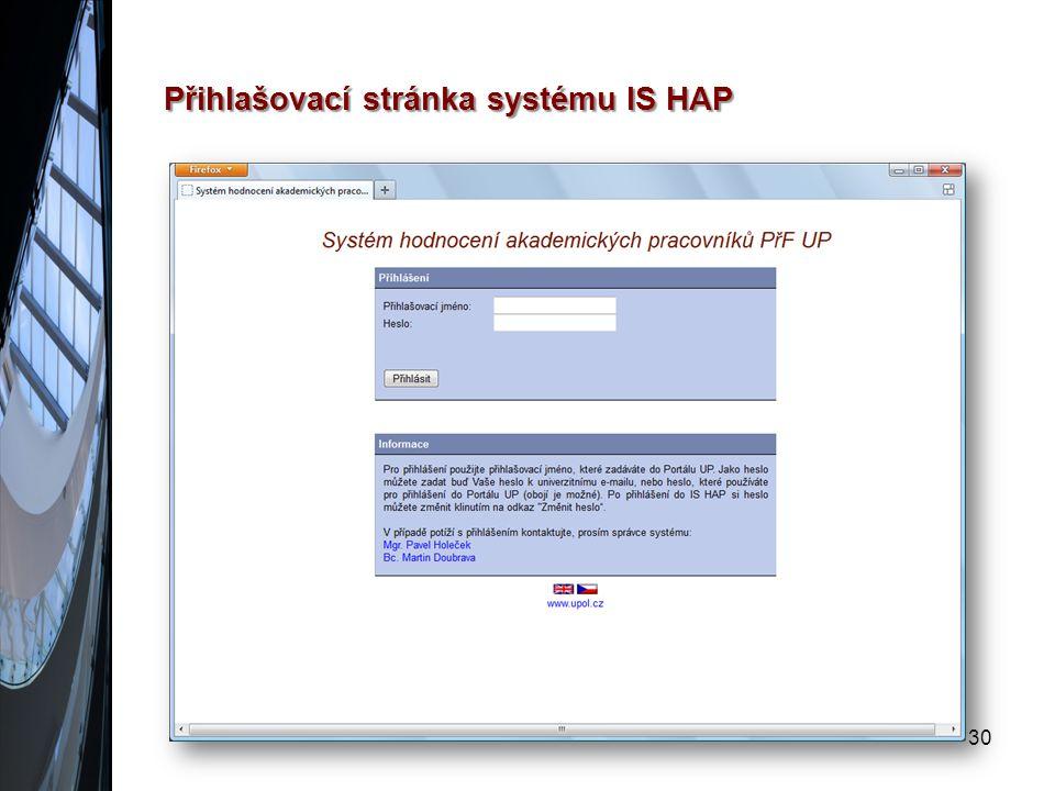 Přihlašovací stránka systému IS HAP 30