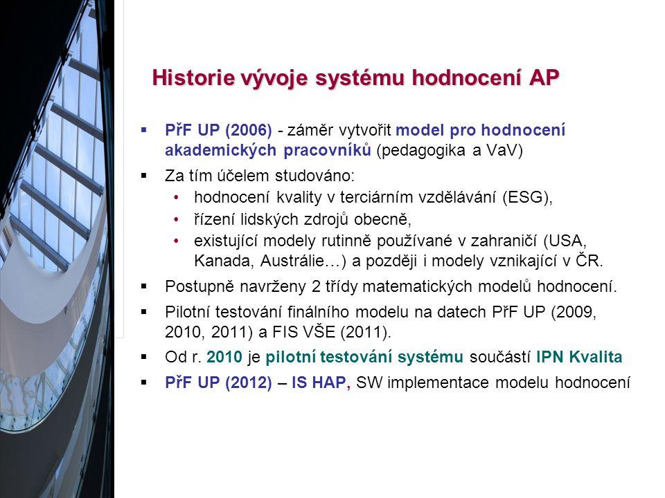 Historie vývoje systému hodnocení AP Historie vývoje systému hodnocení AP  PřF UP (2006) - záměr vytvořit model pro hodnocení akademických pracovníků (pedagogika a VaV)  Za tím účelem studováno: hodnocení kvality v terciárním vzdělávání (ESG), řízení lidských zdrojů obecně, existující modely rutinně používané v zahraničí (USA, Kanada, Austrálie…) a později i modely vznikající v ČR.