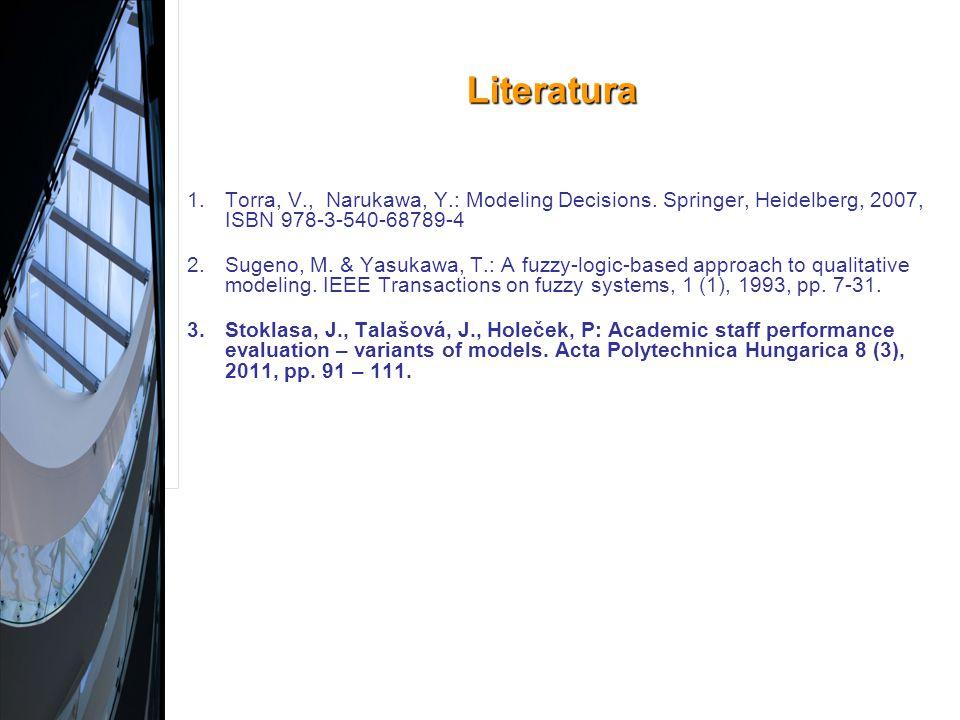 Literatura 1.Torra, V., Narukawa, Y.: Modeling Decisions.