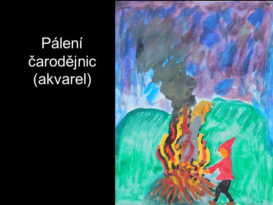 Pálení čarodějnic (akvarel)