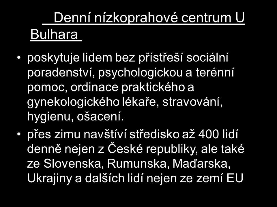Denní nízkoprahové centrum U Bulhara m Naděje U Bulhara v Praze Denní nízkoprahové centrum Naděje U Bulhara poskytuje lidem bez přístřeší sociální por