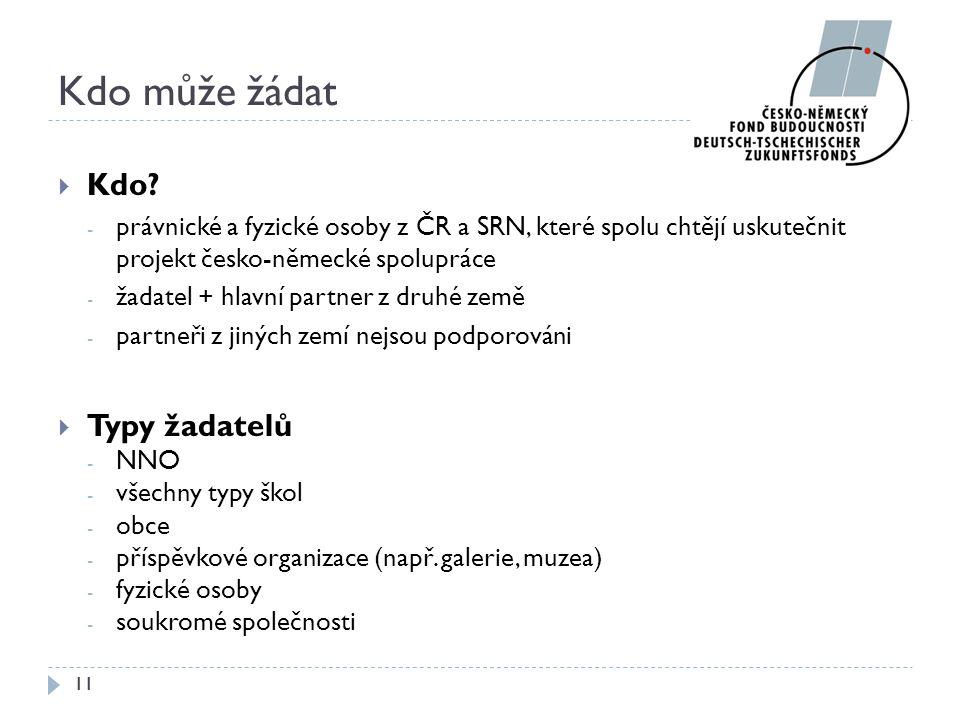 Kdo může žádat  Kdo? - právnické a fyzické osoby z ČR a SRN, které spolu chtějí uskutečnit projekt česko-německé spolupráce - žadatel + hlavní partne