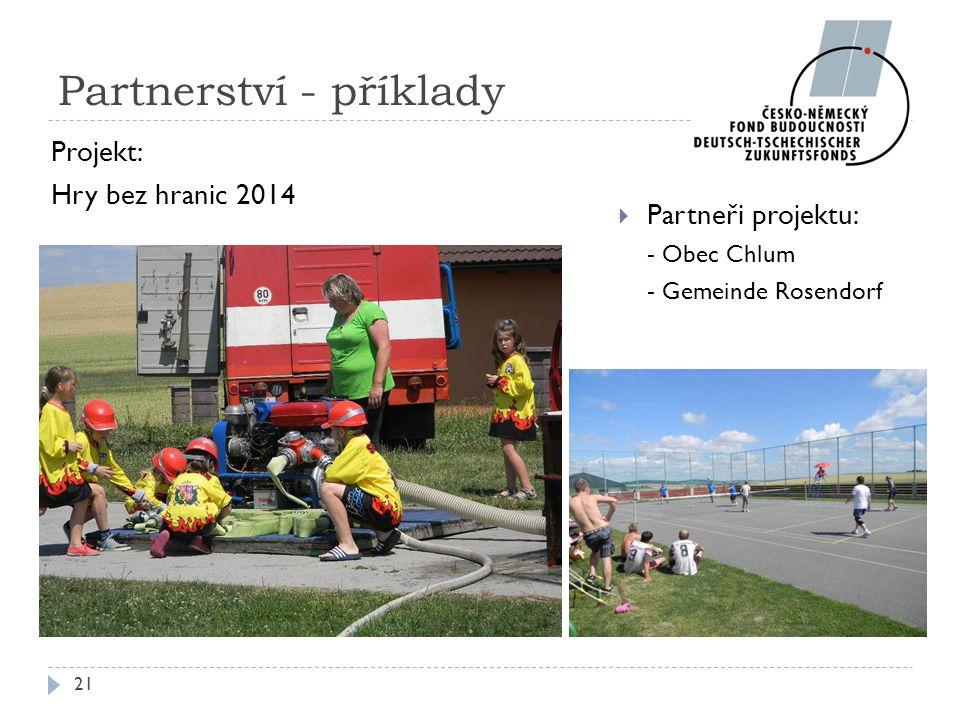  Partneři projektu: - Obec Chlum - Gemeinde Rosendorf 21 Partnerství - příklady Projekt: Hry bez hranic 2014