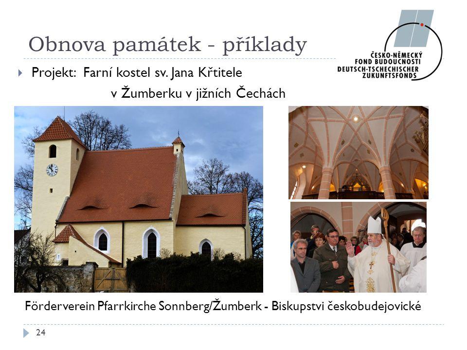 Partneři: Förderverein Pfarrkirche Sonnberg/Žumberk - Biskupstvi českobudejovické 24 Obnova památek - příklady  Projekt: Farní kostel sv. Jana Křtite