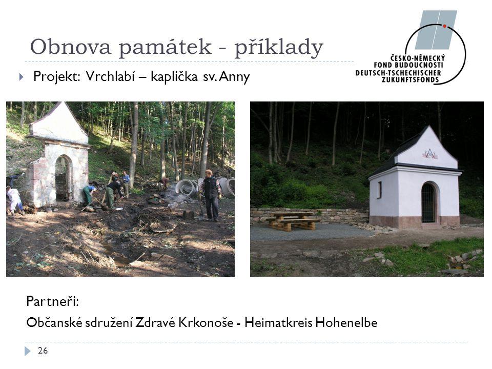 Partneři: Občanské sdružení Zdravé Krkonoše - Heimatkreis Hohenelbe 26 Obnova památek - příklady  Projekt: Vrchlabí – kaplička sv. Anny