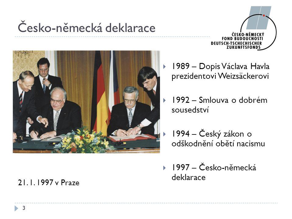 Česko-německá deklarace  1989 – Dopis Václava Havla prezidentovi Weizsäckerovi  1992 – Smlouva o dobrém sousedství  1994 – Český zákon o odškodnění