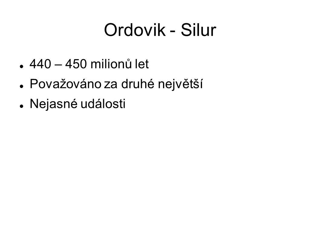 Ordovik - Silur 440 – 450 milionů let Považováno za druhé největší Nejasné události