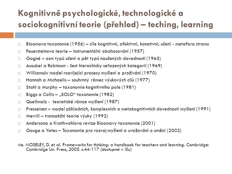 """Kognitivně psychologické, technologické a sociokognitivní teorie (přehled) – teching, learning  Bloomova taxonomie (1956) – cíle kognitivní, afektivní, konativní; učení - metafora stromu  Feuersteinova teorie – instrumentální obohacování (1957)  Gagné – osm typů učení a pět typů naučených dovedností (1965)  Ausubel a Robinson - šest hierachicky seřazených kategorií (1969)  Williamsův model rozvíjející procesy myšlení a prožívání (1970)  Hannah a Michaelis – souhrnný rámec výukových cílů (1977)  Stahl a Murphy – taxonomie kognitivního pole (1981)  Biggs a Collis – """"SOLO taxonomie (1982)  Quellmalz - teoretické rámce myšlení (1987)  Presseisen – model základních, komplexních a metakognitivních dovedností myšlení (1991)  Merrill – transakční teorie výuky (1992)  Andersona a Krathwohlova revize Bloomovy taxonomie (2001)  Gouge a Yates – Taxonomie pro rozvoj myšlení a uvažování o umění (2002) viz."""