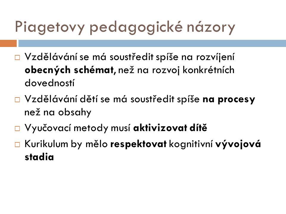 Piagetovy pedagogické názory  Vzdělávání se má soustředit spíše na rozvíjení obecných schémat, než na rozvoj konkrétních dovedností  Vzdělávání dětí se má soustředit spíše na procesy než na obsahy  Vyučovací metody musí aktivizovat dítě  Kurikulum by mělo respektovat kognitivní vývojová stadia