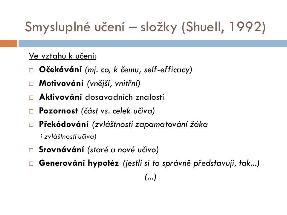 Smysluplné učení – složky (Shuell, 1992) Ve vztahu k učení:  Očekávání (mj. co, k čemu, self-efficacy)  Motivování (vnější, vnitřní)  Aktivování do