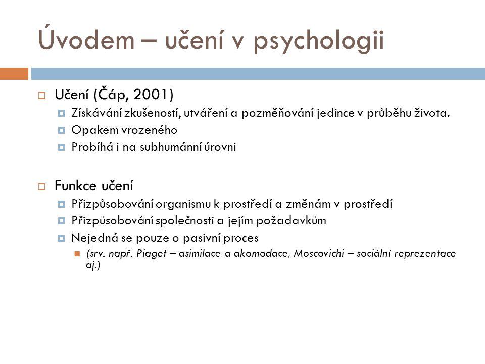 Úvodem – učení v psychologii  Učení (Čáp, 2001)  Získávání zkušeností, utváření a pozměňování jedince v průběhu života.  Opakem vrozeného  Probíhá