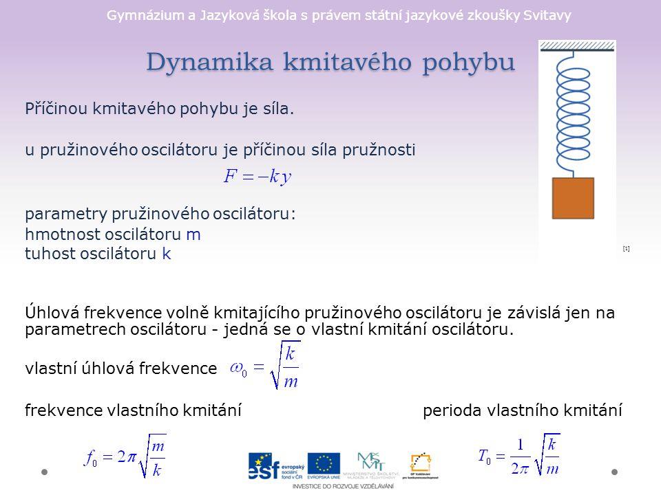 Gymnázium a Jazyková škola s právem státní jazykové zkoušky Svitavy Dynamika kmitavého pohybu Příčinou kmitavého pohybu je síla.