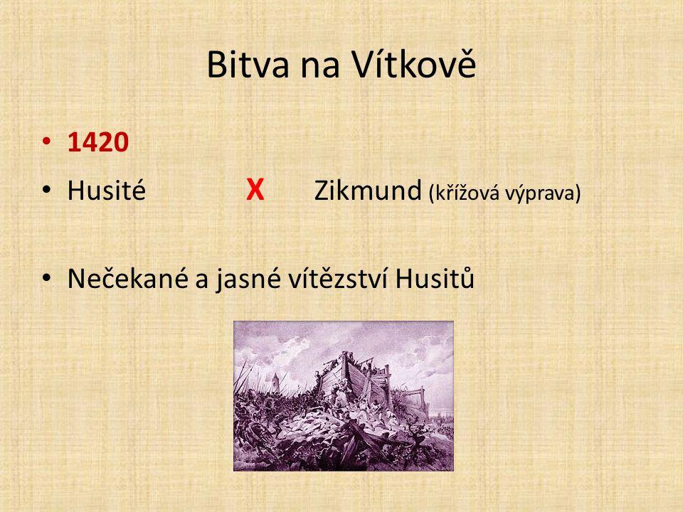 Bitva na Vítkově 1420 Husité X Zikmund (křížová výprava) Nečekané a jasné vítězství Husitů